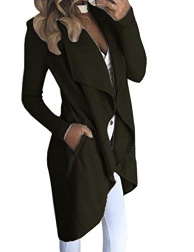 HAHAEMMA Damen Maxi Offene Cardigan Strickjacke Asymmetrisch Strickmantel Mantel mit Tasche Fleece Mantel Winter Frühling Reverskragen Lang Umstandsbekleidung Jacke(AG,XL)
