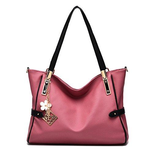 Auspicious beginning Große Kapazität einfache Top Handle Handtasche für Damen mit Blumen-Anhänger gummi pink