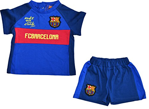 Conjunto bebé Barca–+ Short–Camiseta oficial FC Barcelona, Bebé niño, azul, 18 meses