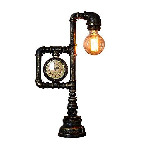 Rost-akzenten (LLYU Retro Tischlampe, antiker Rost Schreibtisch mit Akzente Leuchten und Uhr, kreatives Nachtlicht für Wohnzimmer Küche Bar)