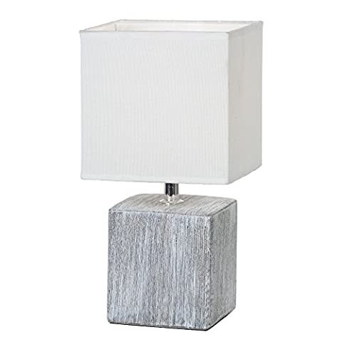 Nachttischleuchte mit Stoffschirm Lampenschirm Keramik-Fuß Nachttischlampe Grau (Tischleuchte, Deko Leuchte, Deko Tischlampe, Schlafzimmerlampe, Höhe 28,5 cm x Durchmesser 15,5 cm, Fassung