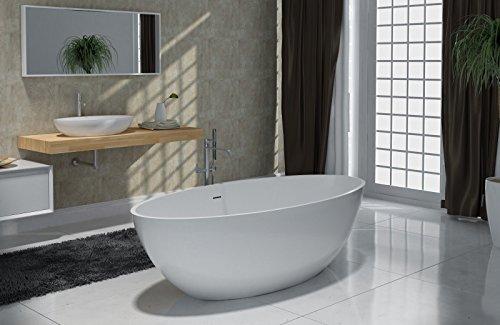 Freistehende Badewanne aus Mineralguss RIO STONE weiß - 180 x 85cm - Wählbar in Matt oder Hochglanz, Ausführung:Glänzend (Stone Freistehende Badewanne)