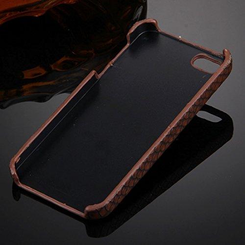 Wkae Case Cover Für iPhone SE &5s &5 Snakeskin Texture Paste Haut PC-Schutzhülle mit Löwe Kopfhalter ( Color : White ) Coffee