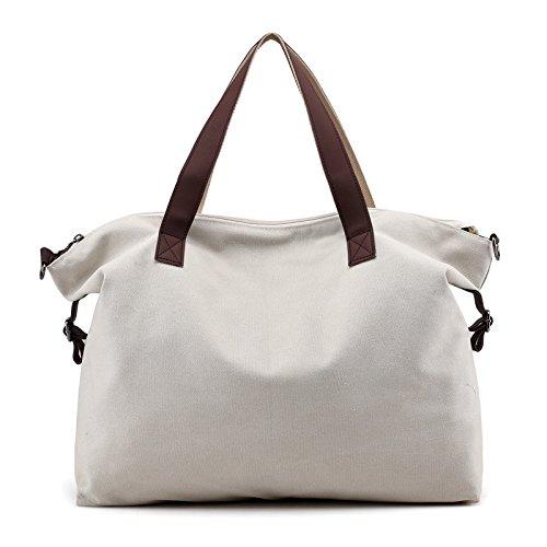 lkklily-fashion Handtaschen Fashion Leinwand Handtasche Schultertasche Crossbody tragen, Rice white