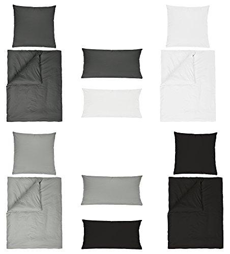 Baumwolle Renforce UNI Bettwäsche 2 teilig 155x220 + 80x80 cm mit Reißverschluss in 4 Farben - Doppelpack Zusatzkissenbezug 40x80 cm Weiss