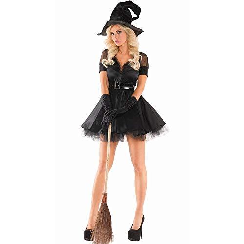 Handschuhe Hexe Kostüm König - Meilandeng Hexenkostüm Halloween-Kostüme für Mädchen Hexenkostüm Damen Damen Halloween Party Maskerade Teufel Hexe Kostüm Cosplay Set Uniform