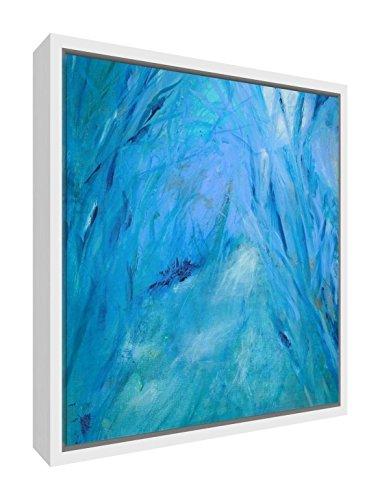 Feel good art moonlight walk stampa artistica cornice tela con telaio in legno massiccio bianco surround,, grande, 64x 44x 3cm
