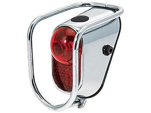 Schutzblech Rücklicht mit Retro Stahl Silber Chrom A + 2Batterien Duracell 3886 Pilot-licht-schalter