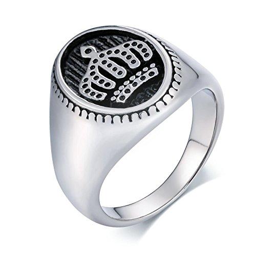 Beydodo Schmuck Vintage Edelstahl Ring Silber für Herren Oval Krone Freundschaftsring Silber Retro Ring Größe 54 (17.2)