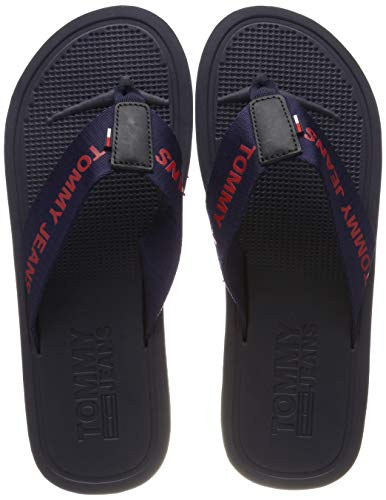Hilfiger Denim Herren Tommy Jeans Moulded Beach Sandal Zehentrenner, Blau (Black Iris 431), 43 EU