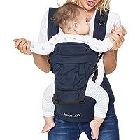 Portabebés 100% de algodón con asiento de cadera - Con bolsillo y capucha/reposacabezas de quita y pon - Ajustable y transpirable - Marca Neotech Care - Para niños pequeños y bebés