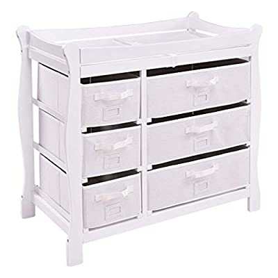 Baby Diaper Changing Table- Changing Table Unit Station Three Colors Available (White, Log, Cherry, Gray) Touch Massage Crib Diaper Table