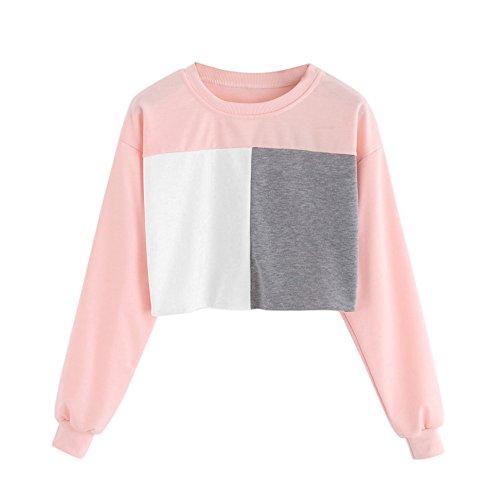 squarex _ lovely Damen Lange Ärmel Sweatshirt Patchwork ursächliche Tops Bluse, Baumwollmischung, rose, S (Rock Aeropostale)