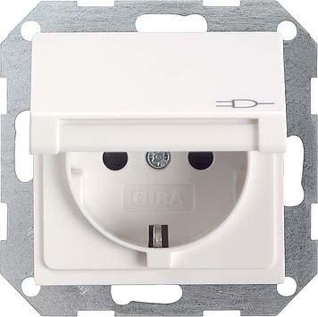 Preisvergleich Produktbild Gira 045427 Schuko Steckdose Klappdeckel System 55, reinweiß matt