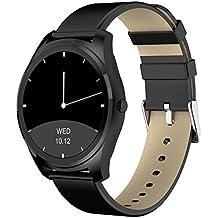 Diggro DI03 Smartwatch Bluetooth Siri Reloj inteligente  Ultra-fino IP67 Monitor de ritmo cardíaco Pedometer Sedentary Recuerde Monitor de sueño Notificaciones de empuje para Android e IOS MTK2502C 128MB + 64MB 1.15cm (negro+negro cuero)