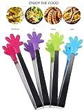 Hillento 4 piezas mini tenazas / pinzas de hielo con pinzas de forma de mano de silicona perfectamente diseñadas, mejores utensilios de cocina, para muffins, panqueques, galletas, chocolate