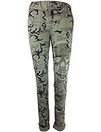 Damen Sweatpants Jogginghose in Military Camouflage mit Totenkopf aus Nieten , MADE IN ITALY