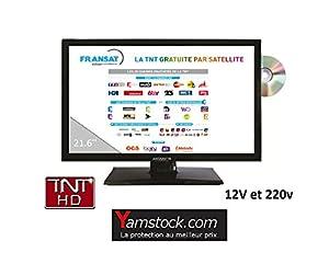 télévision TV HD + DVD 21.6' + démo satellite FRANSAT camping car / fourgon 12v / 220v