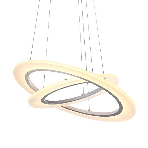 Luxus Designlampe Deckenlampe Pendelleuchte Hängelampe chrom, 2 Ring, weiß mit Tüv geprüft Trafo SD8325-02A-D48091