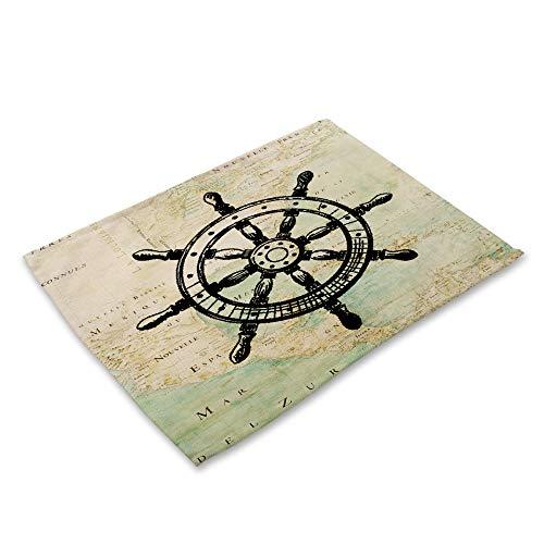 ZCHPDD Tovaglia Nautica Mediterranea retrò Barca A Vela Tovaglia Occidentale Cotone Lino Arte B 42 * 32 Cm * 4 Pezzi