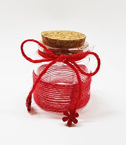 takestop® Set 12Gastgeschenk Bomboniere Kugel rot 5x 5cm aus Glas Deckel kork Band für Hochzeitsmandeln Hochzeit Wedding - Band Kugel-hochzeit