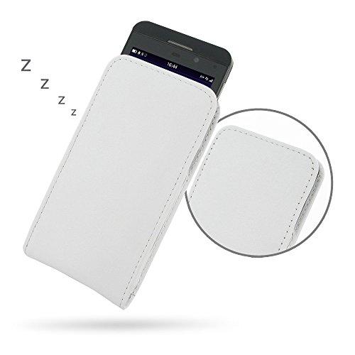 PDAir Blackberry Z10Tasche Sleeve (Weiß), Echt Leder Hülle [, der Holster] | Hand Made Premium Vertikaltasche für Blackberry Z10(Ohne Gürtelclip) für Herren