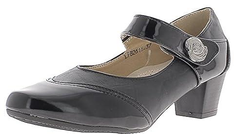 Chaussures femme noires à petits talons de 4,5 cm confortables - 37