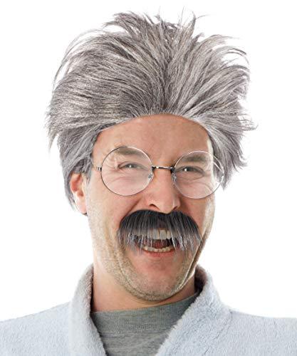 Kostüm Faschings - Balinco Set mit Grauer Opa Perücke + Schnauzbart + runde Brille Verkleidung Großvater Grandpa Granddad Party Fasching Kostüm Accessoire
