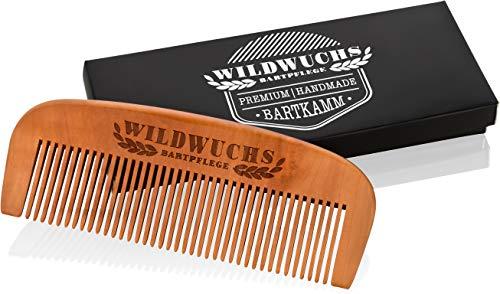 Bartkamm von Wildwuchs Bartpflege - Holz Bart Kamm Männer aus Echtholz im Geschenk Etui für einen natürlichen und gesunden Bartwuchs -