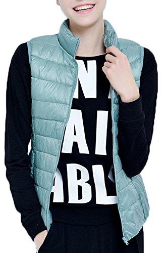Mochoose Doudoune Sans Manche Gilet Ultra Légère Veste Manteau Parka Blouson Zippée Hiver pour Femme Bleu Rose