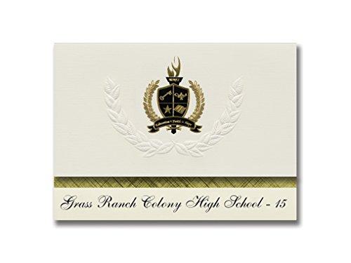 Signature Announcements Gras Ranch Colony High School - 15 (Kimball, SD) Abschlussankündigungen, Präsidentialitätspackung mit goldfarbenen und schwarzen metallischen Folienversiegelungen -