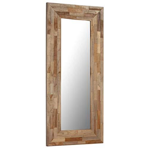 Festnight- 50x110 cm Spiegel Wandspiegel mit Holzrahmen aus Teakholz Flurspiegel Holzspiegel Badezimmerspiegel Antik Braun