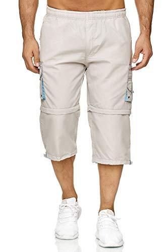 EGOMAXX Herren Cargo Shorts Kurze Bermuda Zip Hose 2 Tragevarianten Variable Beinlänge H2261, Farben:Grau, Größe Shorts:XXL