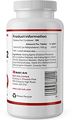 Vitamin B12 | Methylcobalamin | 1000mcg |180 Tablets | Suitable for Vegetarians & Vegans | Made in The UK by Nutri-Ark