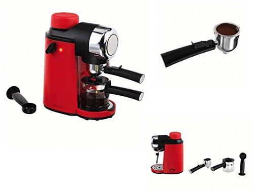 Elektrische Espressomaschine Kaffeemaschine 4 Tassen Espressobereiter Rot Glaskanne (Kleine...