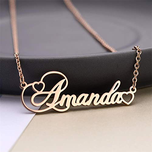 d7c1d3986ee46 LJFSMM Personalized Name Necklace Custom Name Necklace Custom Love  Necklaces Stainless Steel Jewelry Gift For Women Girls, Rose Gold,50Cm