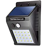 ZIZLY 20 LED Bright Outdoor Security Lights with Motion Sensor Solar Powered Wireless Waterproof Night Spotlight for Outdoor/Garden Wall - 9.7 x 4.8 x 12.4 cm, Black