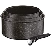 Tefal L6719012 Ingenio Authentic Set De 3 casseroles 16/18/20 cm + 1 Poignée Noir Moucheté Tous Feux Dont Induction, Aluminium, 20 cm