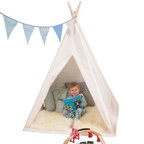 Quokkadoo Neues Tipi-Zelt für Kinder mit Bodenmatte, Lichterketten - Fahnen & Flaggen - mit Gepolsterter Rutschfester Bodenmatte- Kinderzimmer, Spielzelt, Weiss (163cm hoch)