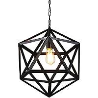lediary negro hierro hexaedro jaula Vintage industrial lámpara de araña lámpara de techo colgante retro Novelty techo droplight-35cm