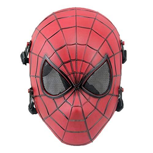 Peter Parker Spider-Man Maske, Spiderman Hood Helm Comics Hero Headgear Cosplay für Erwachsene und Jugendliche Maskerade Halloween,Red-53cm~63cm ()