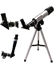 VDNSI Glass & Metal Tube Refractor Telescope with Tripod & 2 Eyepieces Black & White Colour