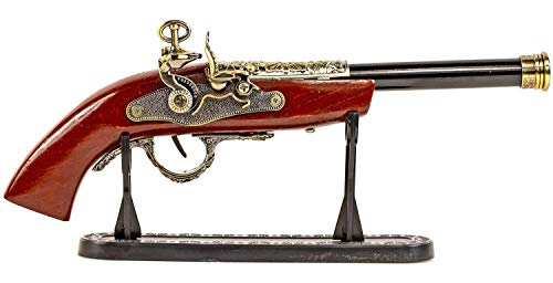 Nick and Ben Feuerzeug Pistole aus Metall Holz großes Gasfeuerzeug Piraten realistisch mit Ständer Maßstabs-Getreu -