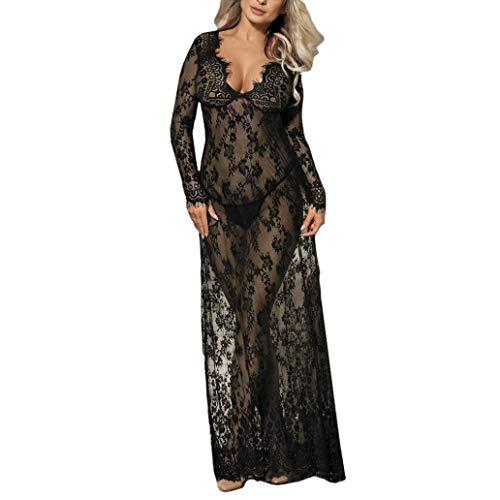 POTTOA Damen Dessous Negligee Nachthemd-Kleid, Spitze-schwarzer Wäsche-Langer Nachtwäsche-Rock