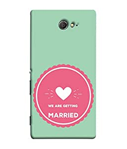 PrintVisa Designer Back Case Cover for Sony Xperia M2 Dual :: Sony Xperia M2 Dual D2302 (Love Arrow Two Heart Married Emotion Sentiment)