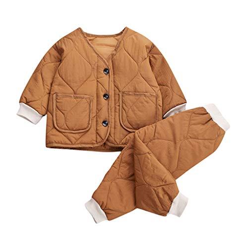 Livoral Girl warme dicken Mantel Jacke Neugeborene Baby Boy Outwear Hosen Outfits Set(B-Braun,0-3 Jahre)