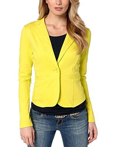 Casual De La Mujer Elegante De Un Solo Pecho Blázer Abrigo Amarillo S