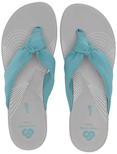 Clarks Arla Glison Damen Flip Flop, Trkis (Aqua Solid Textil), 43 EU