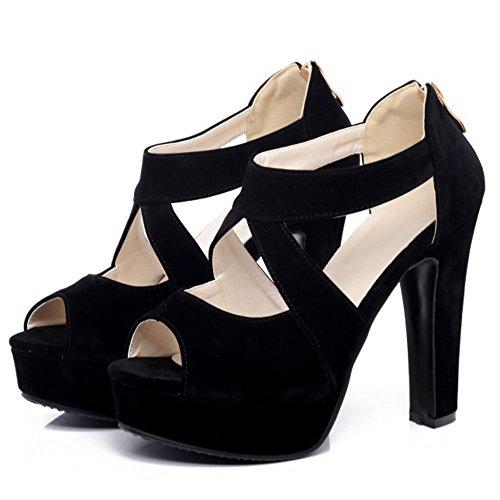 TAOFFEN Femmes Elegant Peep Toe Plateforme Sandales Talon Haut Laniere Croise 640 Noir