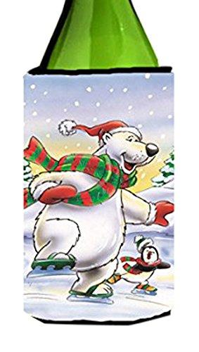 holiday-polar-bears-ice-skating-wine-bottle-koozie-hugger-aah7270literk